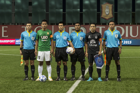 fa: BANGKOK,THAILAND:August 2015:Player of Bang kokgass fc ,Buriram UTD during football Chang FA Cup round of 16 teams between BANGKOK GLASS FC and BURIRAM UNITED at LEO Stadium on August,12,2015inThailand.