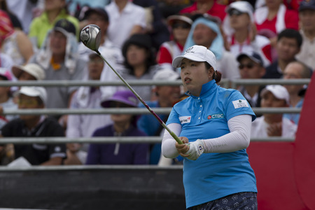 country club: CHONBURI ,THAILAND-March 1:Shanshan FENG Guangzhou ,Chaina in action during Honda LPGA Thailand 2015 at Siam Country Club on Macrh;1;2015;Pattaya, Thailand.