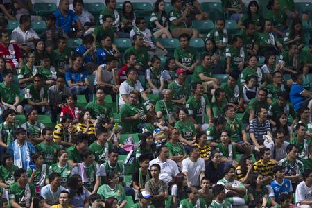 fa: BANGKOK,THAILAND:August 2015:Football fans glad of Bang kokgass fc in football Chang FA Cup round of 16 teams between BANGKOK GLASS FC and BURIRAM UNITED at LEO Stadium on August,12,2015inThailand.
