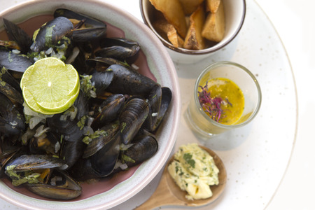 wine sauce: Bouchut Mussels White wine sauce. Stock Photo