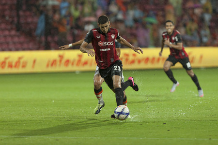 silva: BANGKOK,THAILAND:September 2015:Cleiton Silva Player of SCG Mungthong UTD during football Chang FA Cup round of 8 teams between SCG Mungthong UTD ; Chiangrai UTD  at SCG Stadium on September,23,2015inThailand.