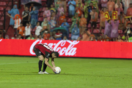 fa: BANGKOK,THAILAND:September 2015:Cleiton Silva Player of SCG Mungthong UTD during football Chang FA Cup round of 8 teams between SCG Mungthong UTD ; Chiangrai UTD  at SCG Stadium on September,23,2015inThailand.