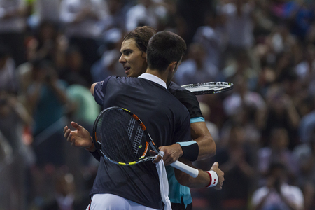 nadal: BANGKOK,THAILAND:October;2015:Rafael Nadal and Djokovic  in tennis back to Thailand Nadal vs Djokovic Presentend by TRUE at Indoor Stadium Huamark on October,2,2015:Thailand. Editorial