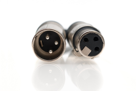 XLR male and female cable. Front view Stock Photo
