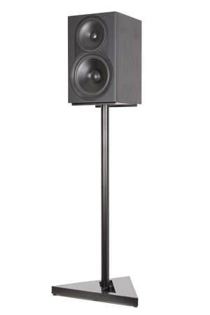 Monitor audio stands, professional two-way speaker. Isolated white background Фото со стока