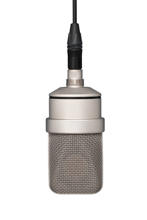 Professional microphone hanging on the cable, mic. Front view