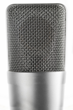 Professional large diaphragm microphone. Front view
