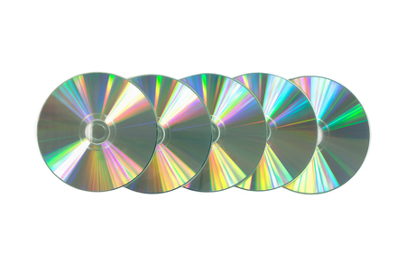 Several CD  DVD on isolated white background. Top view Stock Photo
