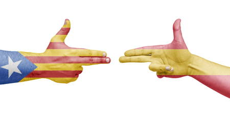 Flags of the Catalonia and Spain in the form of handguns. Isolated white background