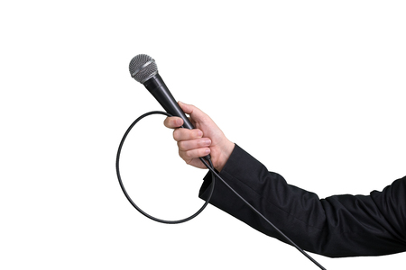 Interviewer or reporter with microphone in hand view from one side, mic. Isolated white background