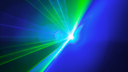 Laser disco light of blinding show. Front view Stock Photo