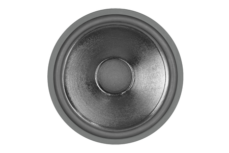 Old audio speaker on white background. Front view