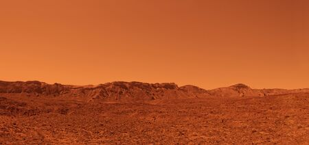 Desert mars mountains with a striking red colour. High resolution image