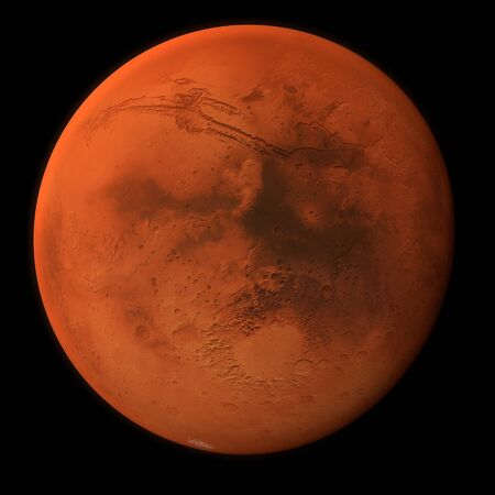 The planet Mars in high resolution - located in the same solar system. Black background Stock Photo