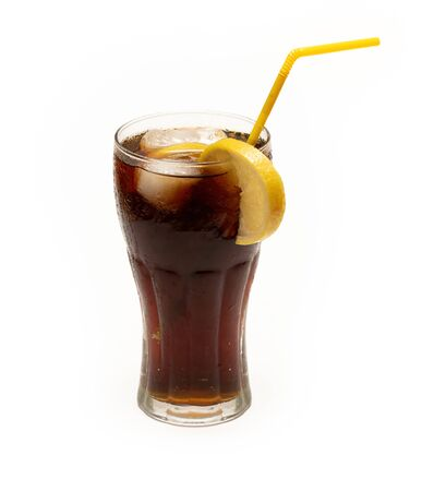 Cold cola on an insulated white background. Front view Archivio Fotografico