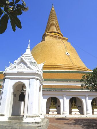 nakhon pathom: location feature from middle floor of phra pathom jae-dee pagoda in nakhonpathom, Thailand
