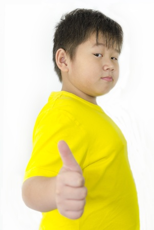 a chinese boy with his thumb up over white background