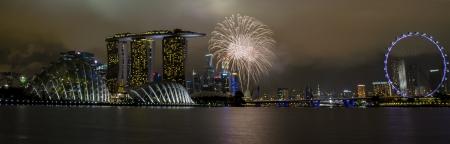 singapore national day celebration fireworks Stock Photo