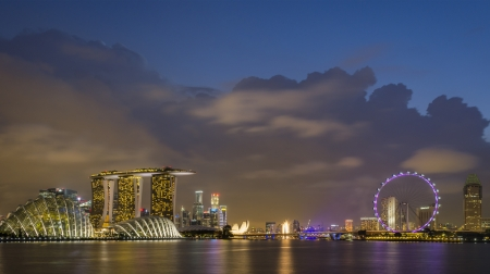marina life: singapore skyline at dusk Stock Photo