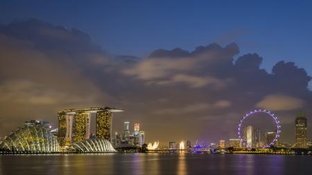 singapore skyline at dusk Stock Photo