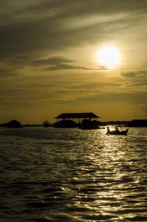 poling: sunset over floating village