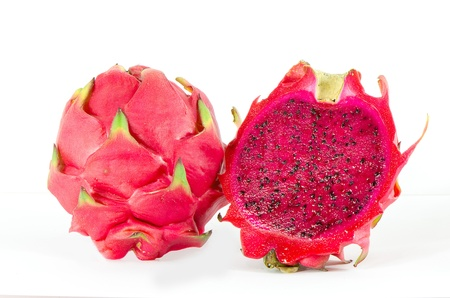 Healthy red dragon fruit against white background Stock Photo