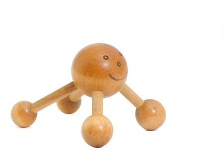 a smiley wooden massager for the back Stock Photo