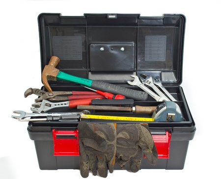 a toolbox set against a white background photo