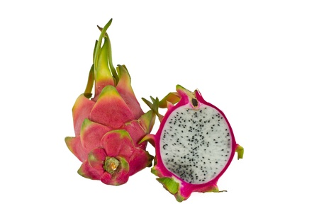 A BRIGHTLY COLORED DRAGON FRUIT AGAINST WHITE BACKGROUND