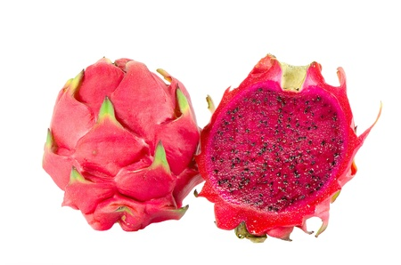 dragon: Healthy red dragon fruit against white background Stock Photo
