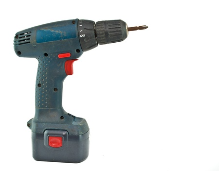 cordless drill with a cross head screw driver tip  Stock Photo