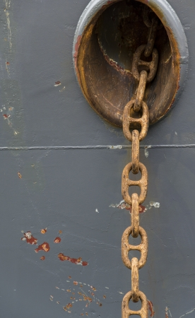 ancient ships: huge rusty anchor chain links on a vessel