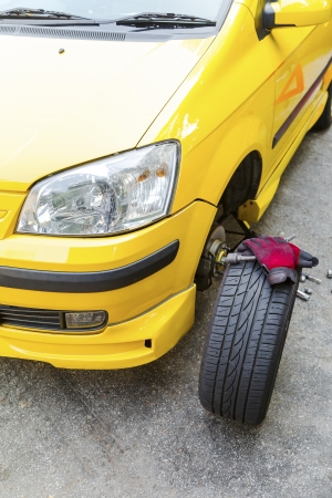 Close up of a breakdown car in the process of repairing.