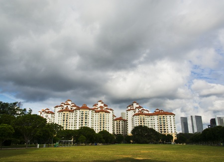 hdb: high rise apartments with sky background Stock Photo