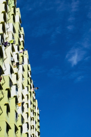high rise apartments with clear blue sky photo