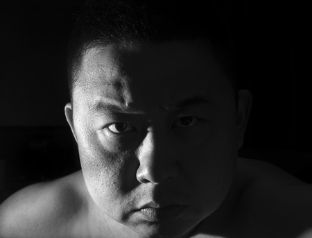 a black and white asian expression Stock Photo