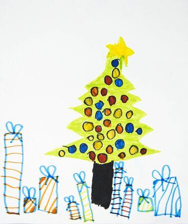 kids christmas tree drawing