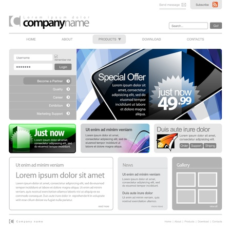 Gray Website Template 960 Grid. Stock Vector - 12455038