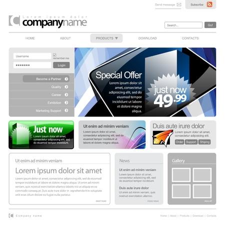 Gray Website Template 960 Grid.  Stock Vector - 12455038