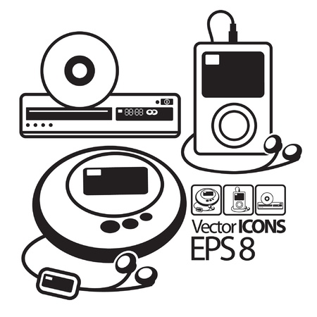 vector Icons. MP3 player, CD player and DVD player Stock Vector - 12455017