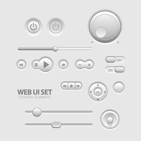 Light Web UI Elements Design Gray  Vector