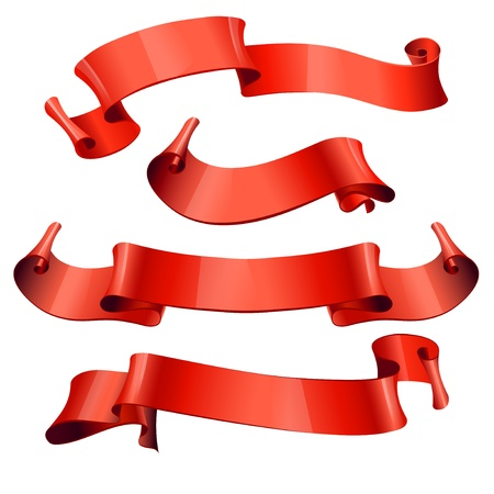 yellow ribbon: Red glossy ribbons on a white background