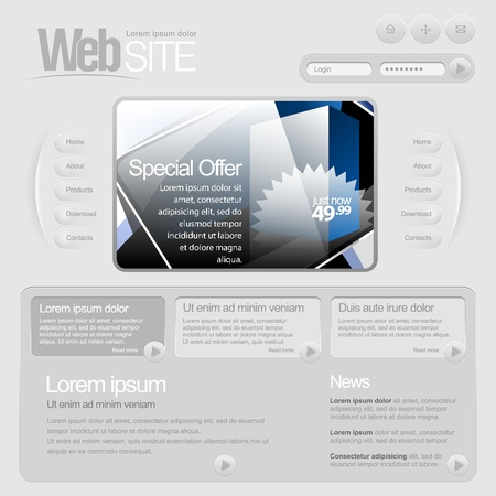 web site template: Gray Website Template 960 Grid