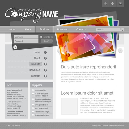 Gray Website Template 960 Grid Stock Vector - 13090697