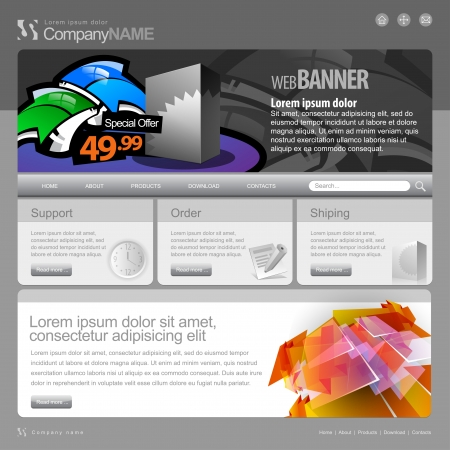 web site design template: Gray Website Template 960 Grid