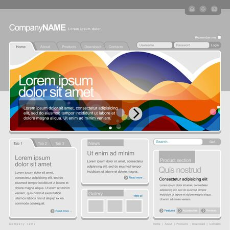 Gray Website Template 960 Grid   Stock Vector - 13090694