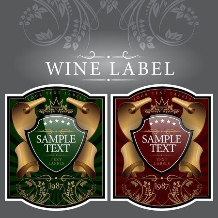 grapevine: wine label with a gold ribbon Illustration
