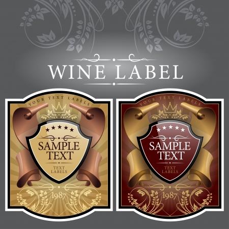 french label: vino de etiqueta con una cinta de oro