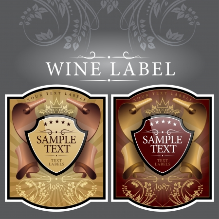 wine label design: wine label with a gold ribbon Illustration