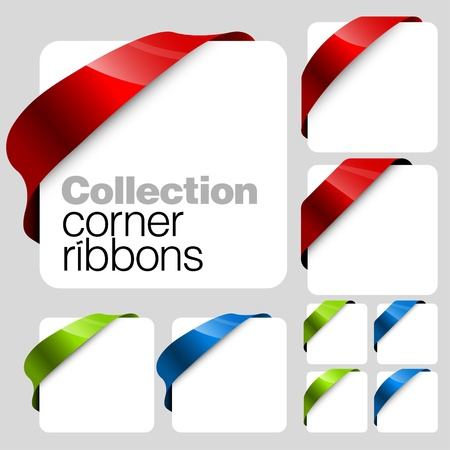 discount banner: Collection of corner ribbons  Illustration